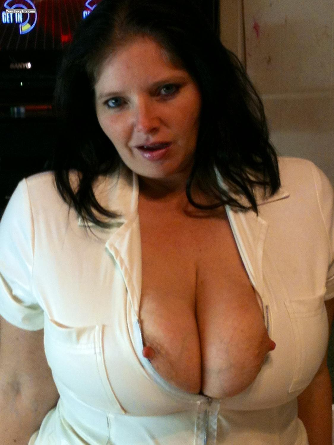 Tit Flash: Extremely Big Tits By IPhone - Topless Nurse Monkey from United States